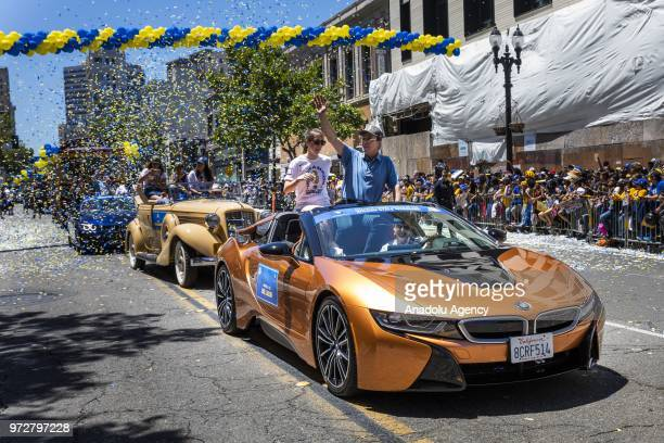 Golden State Warriors majority owner Joe Jacob acknowledges the crowd as he passes by during the Golden State Warriors NBA Championship Victory...