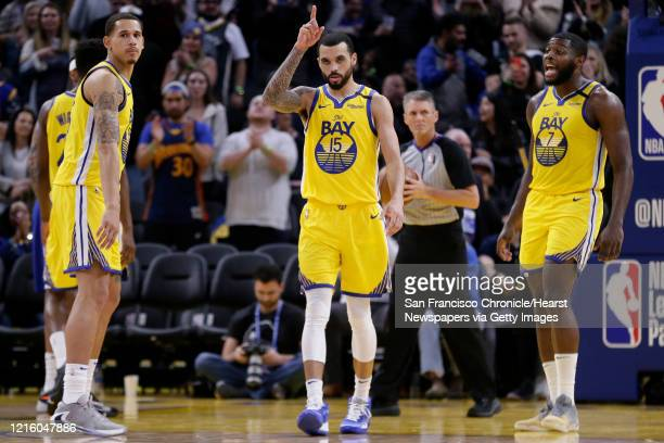Golden State Warriors Mychal Mulder reacts late in the fourth quarter of an NBA game against the Philadelphia 76ers at Chase Center on Saturday March...