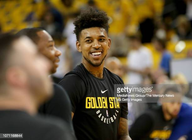 Golden State Warriors' Nick Young warms up before Game 2 of the NBA Finals against the Cleveland Cavaliers at Oracle Arena in Oakland Calif on Sunday...