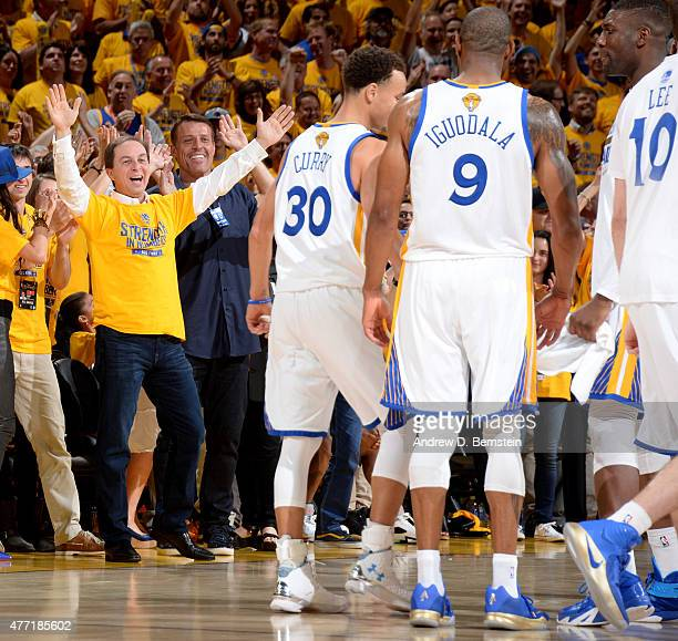 Golden State Warriors Owner Joe Jacob cheers during Game Five of the 2015 NBA Finals at Oracle Arena on June 14 2015 in Oakland California NOTE TO...