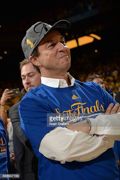 Golden State Warriors owner Joe Lacob celebrates after winning Game Seven of the Western Conference Finals against the Oklahoma City Thunder during...