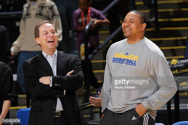 Golden State Warriors owner Joe Lacob chats with head coach Mark Jackson of the Golden State Warriors before a game against the Sacramento Kings on...