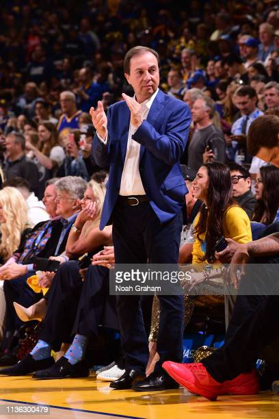 Golden State Warriors owner Joe Lacob claps during the game between the Golden State Warriors and LA Clippers on April 7 2019 at ORACLE Arena in...