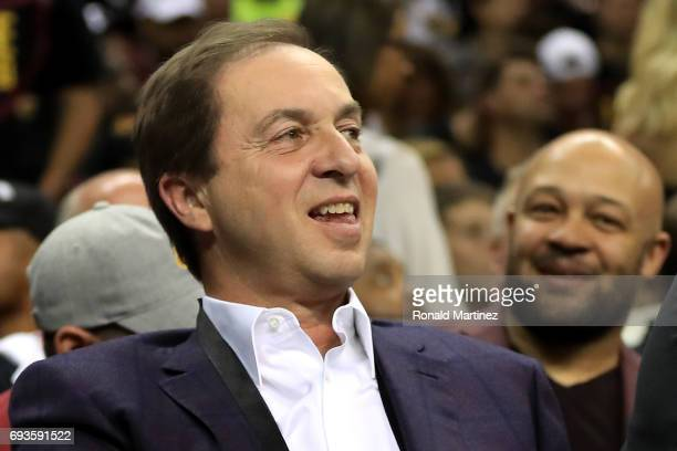 Golden State Warriors owner Joe Lacob looks on in Game 3 of the 2017 NBA Finals against the Cleveland Cavaliers at Quicken Loans Arena on June 7 2017...