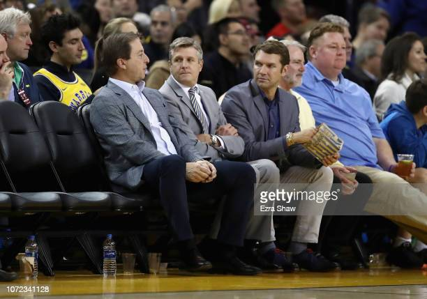 Golden State Warriors owner Joe Lacob sits with Rick Welts the President and Chief Operating Officer for the Golden State Warriors and Todd Gage...