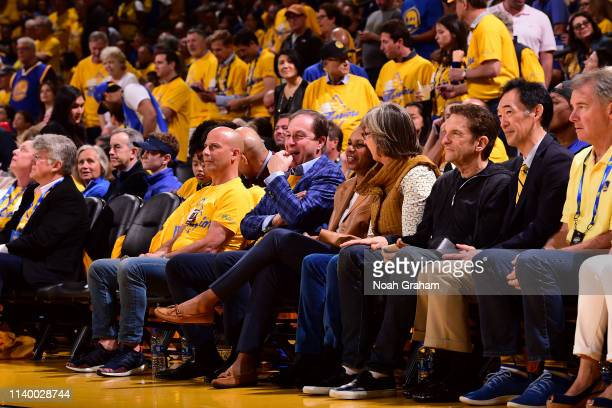 Golden State Warriors Owner Joseph S Lacob and Former United States Secretary of State Condoleezza Rice are seen at the game between the Houston...