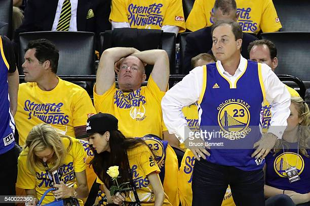 Golden State Warriors owner Joseph S Lacob looks on during Game 5 of the 2016 NBA Finals between the Cleveland Cavaliers and the Golden State...