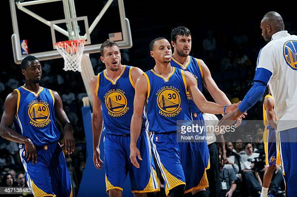 Golden State Warriors players celebrates during a game against the Los Angeles Lakers on October 12 2012 at Citizens Business Bank Arena in Ontario...