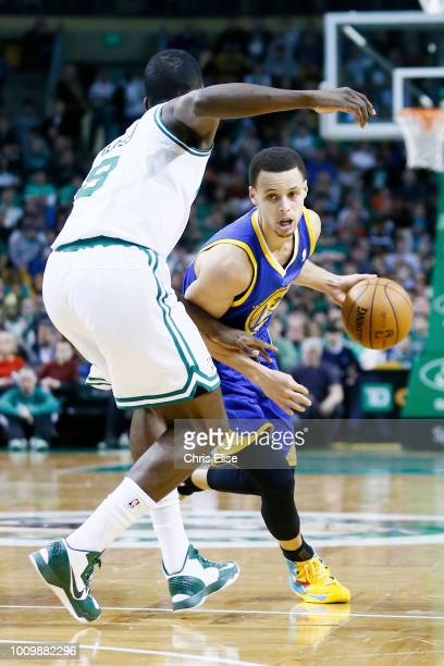 Golden State Warriors point guard Stephen Curry drives past Boston Celtics power forward Jeff Green during the Boston Celtics 9486 victory over the...