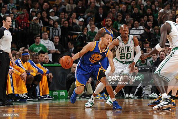 Golden State Warriors point guard Stephen Curry drives to the basket during the game against the Boston Celtics on March 4 2011 at the TD Garden in...
