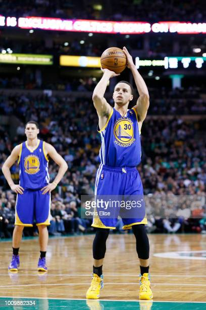 Golden State Warriors point guard Stephen Curry is seen at the free throw line during the Boston Celtics 9486 victory over the Golden State Warriors...