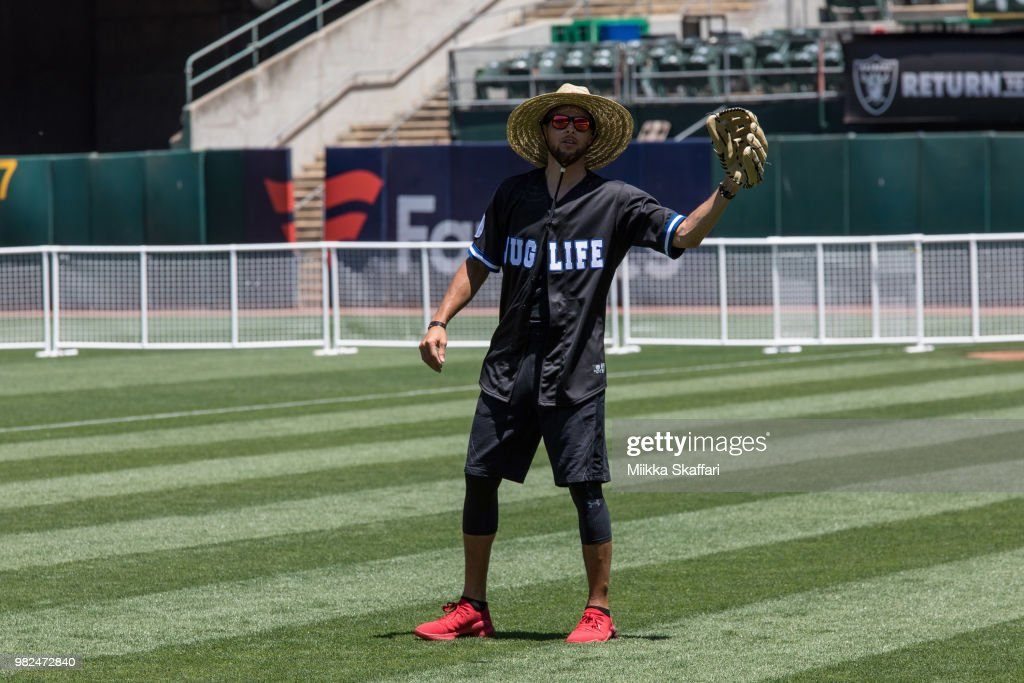 Golden State Warriors point guard Stephen Curry plays in Water For Life Charity Softball Game at Oakland-Alameda County Coliseum on June 23, 2018 in Oakland, California.