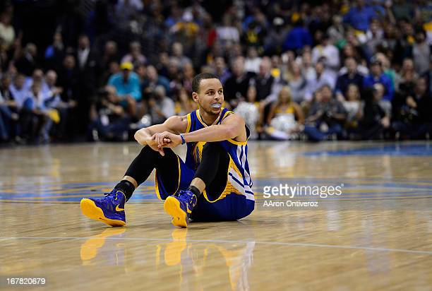 Golden State Warriors point guard Stephen Curry takes a breather in the second quarter The Denver Nuggets took on the Golden State Warriors in Game 5...