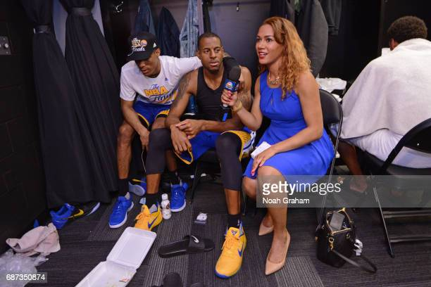 Golden State Warriors sideline reporter Rosalyn GoldOnwude interviews Patrick McCaw and Andre Iguodala of the Golden State Warriors after winning...