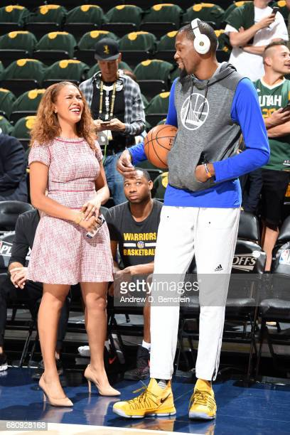 Golden State Warriors sideline reporter Rosalyn GoldOnwude talks to Kevin Durant of the Golden State Warriors before Game Three of the Western...