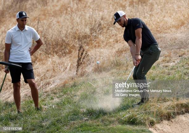 Golden State Warriors Stephen Curry hits out of the rough on the sixth hole during his practice round for the Ellie Mae Classic golf tournament at...