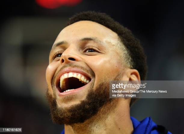Golden State Warriors' Stephen Curry laughs during an open practice at the Chase Center in San Francisco Calif on Monday Oct 7 2019