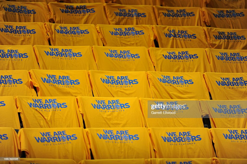 Golden State Warriors towels are placed on fans seats before Game Four of the Western Conference Quarterfinals against the Denver Nuggets during the 2013 NBA Playoffs on April 28, 2013 at the Oracle Arena in Oakland, California.