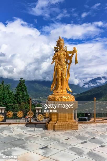 Golden statue of Buddhist female gods at Buddha Dordenma temple,