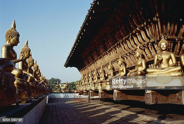golden statues and pagoda - sirulnikoff stock photos and pictures