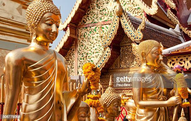 Golden statues at temple, Wat Phra That Doi Suthep, Chiang Mai, Thailand