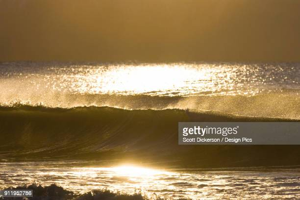 golden sunlight reflecting on the surface of the water and waves in kachemak bay - home run ストックフォトと画像