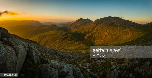 golden sunrise shining in idyllic mountain valley lake district cumbria - mountain range stock pictures, royalty-free photos & images