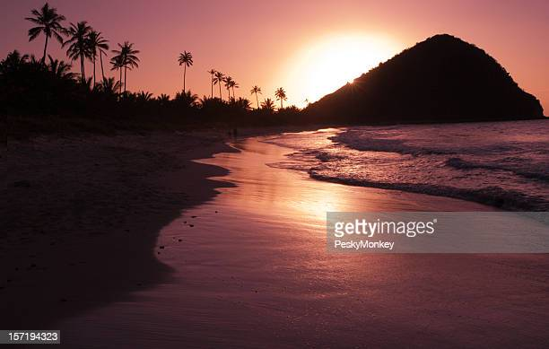 Golden Sunset Caribbean Island Beach