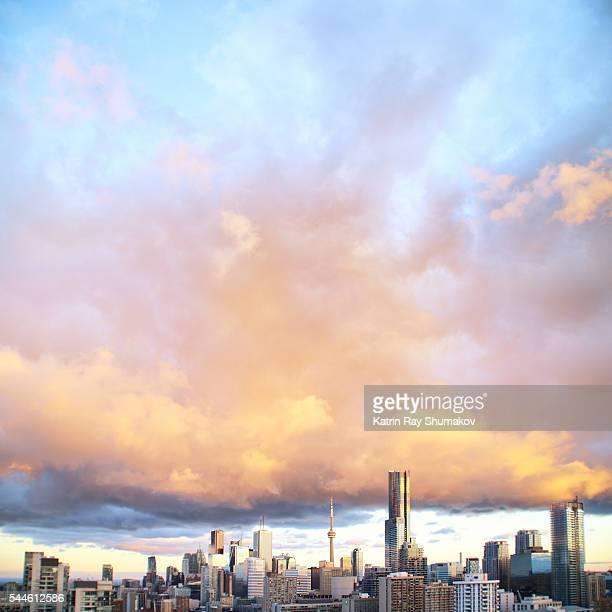 Golden Sunset Clouds Above Toronto