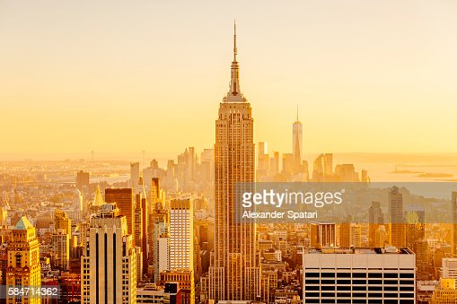 Golden sunset in Manhattan, New York City, USA