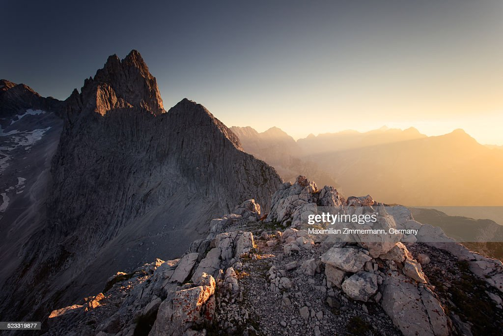 Golden sunset in the alps : Stock Photo