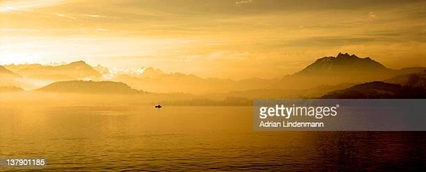 Golden sunset on lake Zug