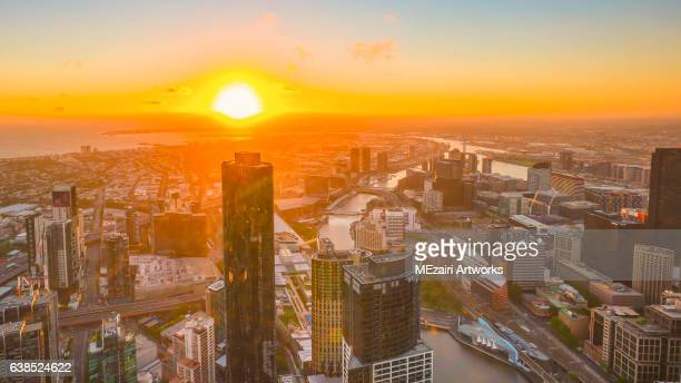Golden sunset over Melbourne city