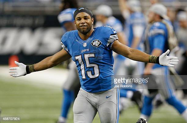 Golden Tate of the Detroit Lions celebrates after the win over the Miami Dolphins at Ford Field on November 09 2014 in Detroit Michigan