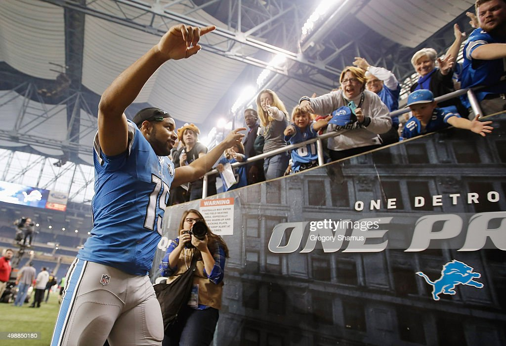 Golden Tate #15 of the Detroit Lions celebrates as he leaves the after defeating the Philadelphia Eagles 45-14 at Ford Field on November 26, 2015 in Detroit, Michigan.