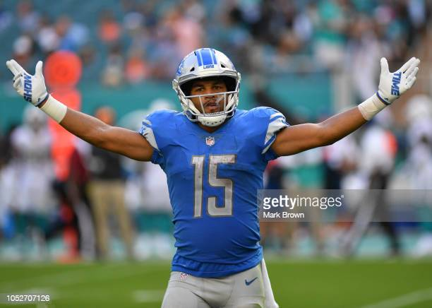 Golden Tate of the Detroit Lions celebrates in the fourth quarter against the Miami Dolphins at Hard Rock Stadium on October 21 2018 in Miami Florida