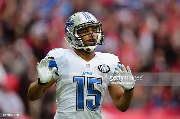 Golden Tate of the Detroit Lions celebrates scoring a touchdown in the third quarter during the NFL match between Detroit Lions and Atlanta Falcons...