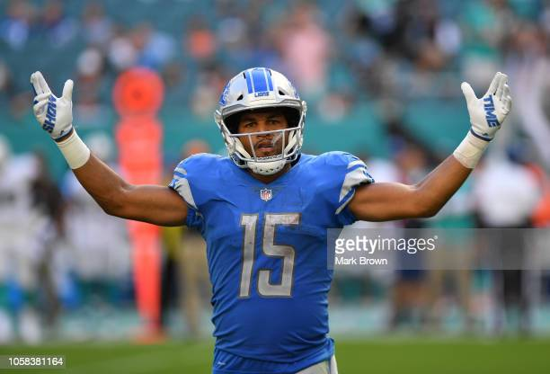Golden Tate of the Detroit Lions in action against the Miami Dolphins at Hard Rock Stadium on October 21 2018 in Miami Florida