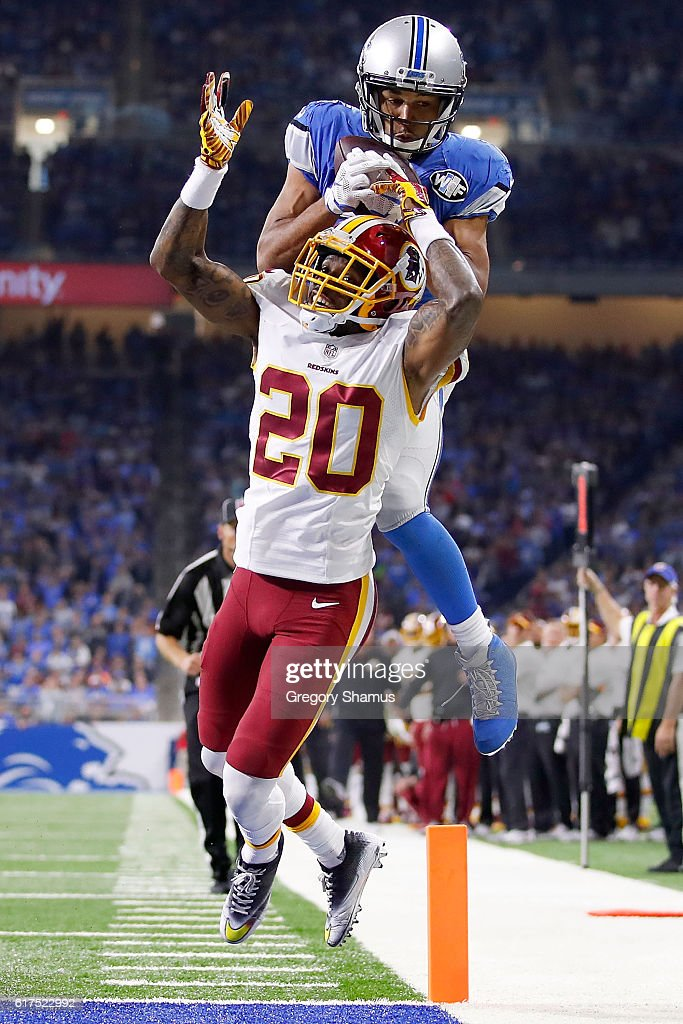 Golden Tate #15 of the Detroit Lions makes a catch over the head of Greg Toler #20 of the Washington Redskins but it was ruled incomplete because he came down out of bounds during second half action at Ford Field on October 23, 2016 in Detroit, Michigan