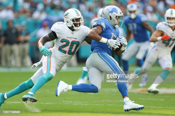 Golden Tate of the Detroit Lions runs with the ball after a reception chased by Reshad Jones of the Miami Dolphins during the second half at Hard...