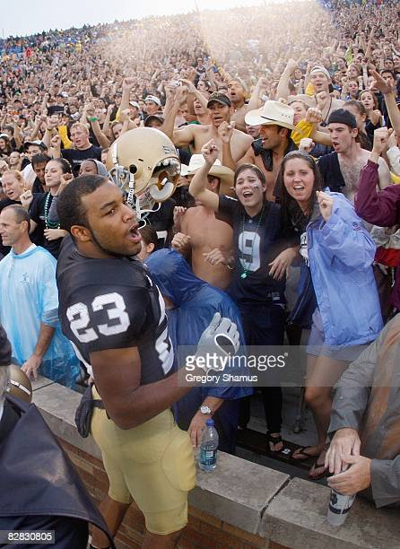 Golden Tate of the Notre Dame Fighting Irish celebrates after the game against the Michigan Wolverines on September 13 2008 at Notre Dame Stadium in...