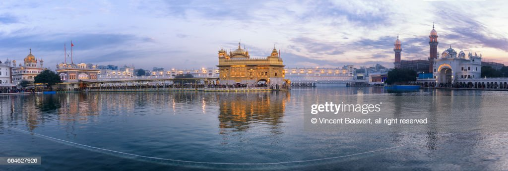 Golden Temple at dusk, Amritsar, India : Stock Photo