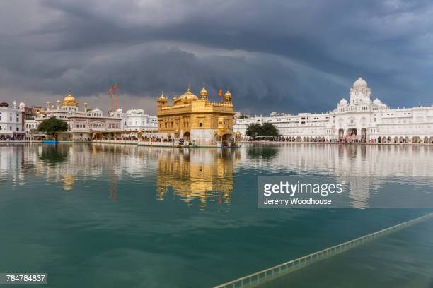 golden temple at sacred pond, amritsar, punjab, india - golden temple india stock photos and pictures
