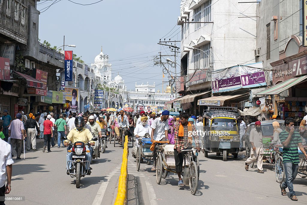 Golden Temple Road in Amritsar India : Stock Photo
