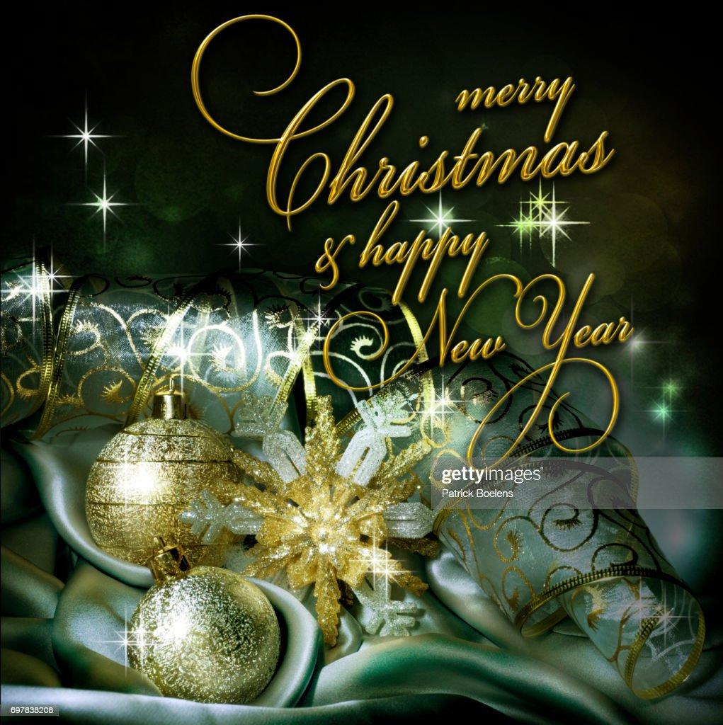Texto Dourado Sobre Fundo De Natal Feliz Natal E Feliz Ano Novo