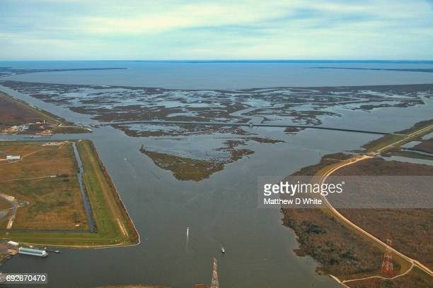 golden triangle, lake borgne, new orleans, la - mississippi delta stock photos and pictures