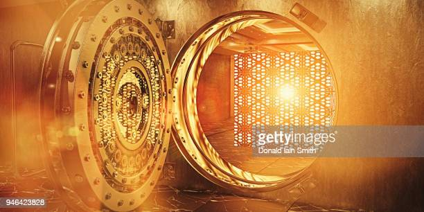 Golden vault containing floating glowing cube representing data storage