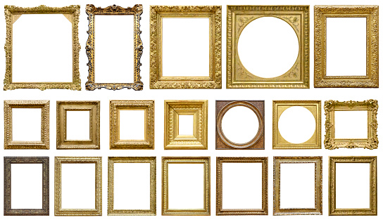 Golden vintage frame isolated on white background (All clipping paths included) 1057557254