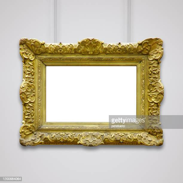 golden vintage frame (all clipping paths included) - art deco furniture stock pictures, royalty-free photos & images