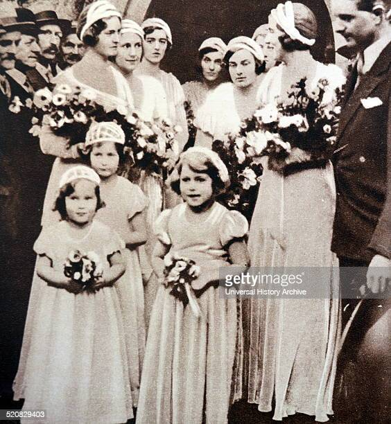 Golden wedding celebrations of the Duke and Duchess Strathmore at the Glamis Castle in Scotland attended by the young Princess later Queen Elizabeth...